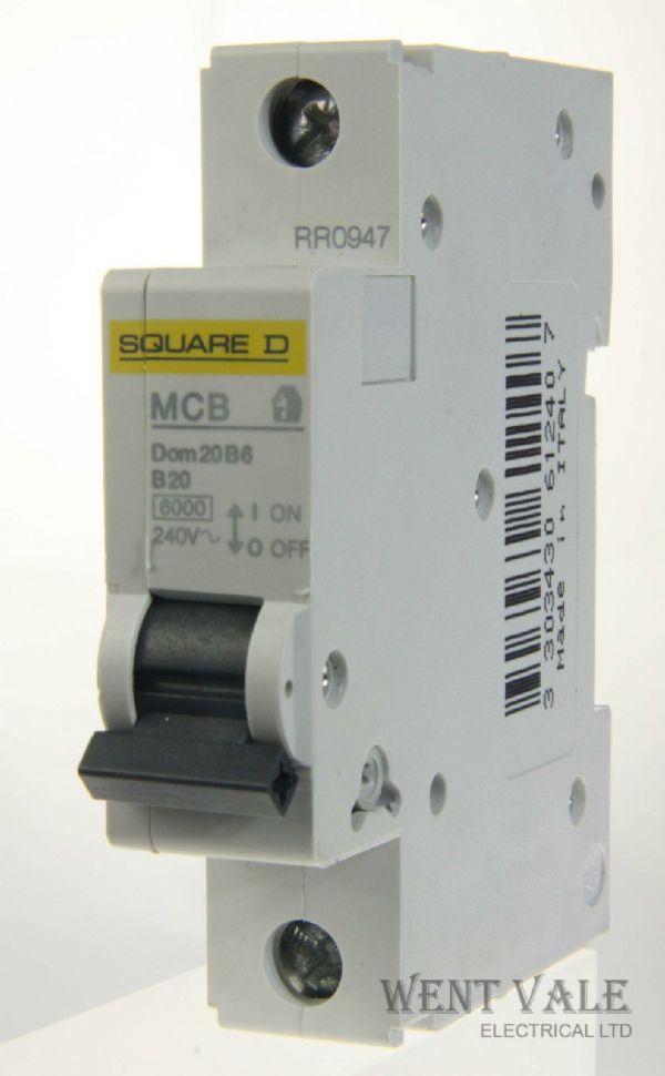 Square D Domae - DOM20B6 - 20a Type B Single Pole MCB New